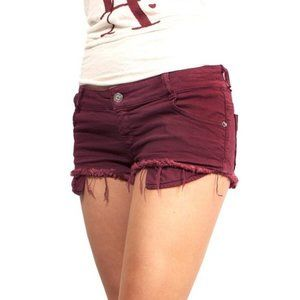 Brandy Melville Maroon Raw Hem Denim Shorts